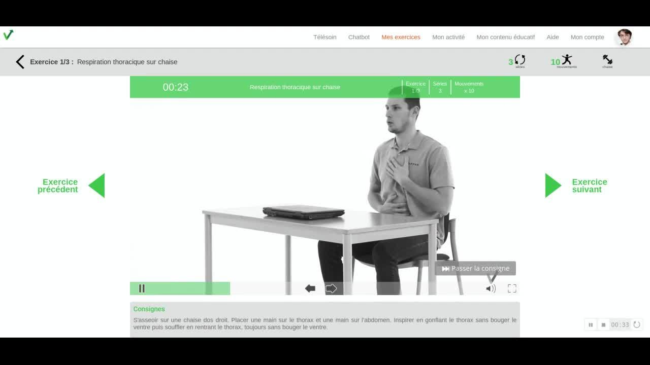 Salarie - acceder au programme dexercices et lire la video