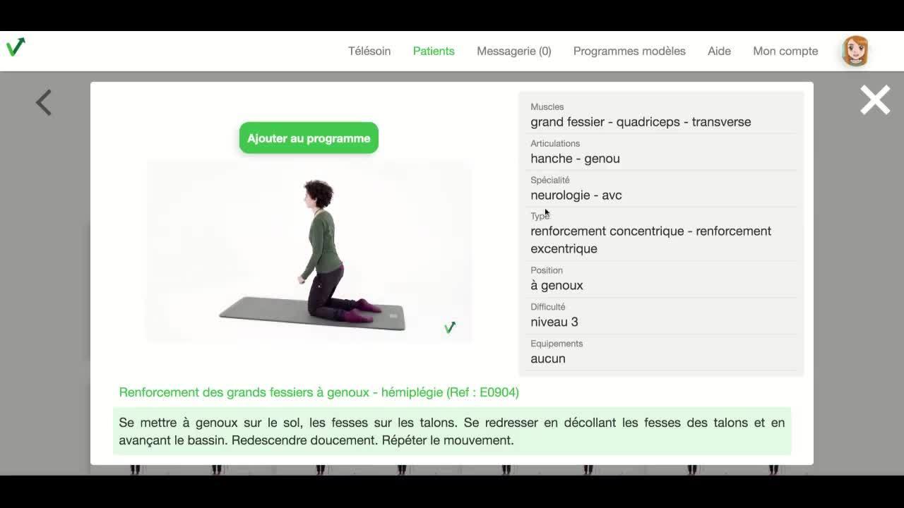 Praticien - acceder au detail et a la video dun exercice