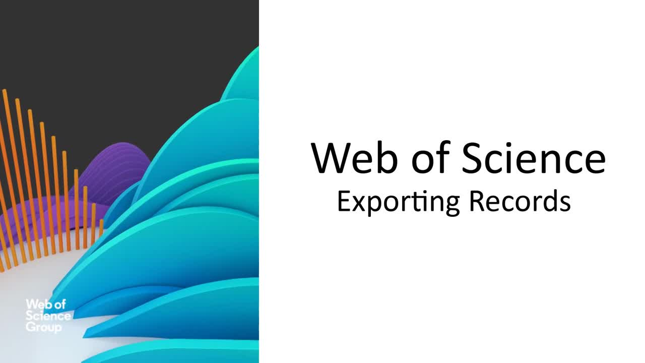 Web of Science - Exporting Records