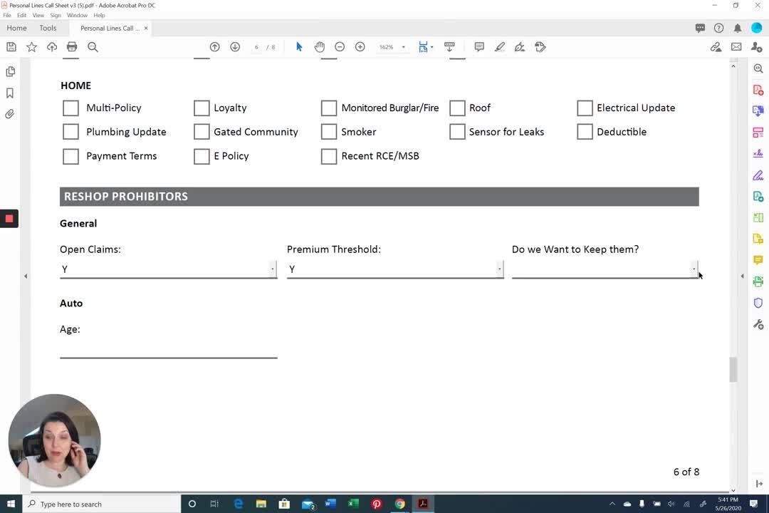 AppX Retention Call Sheet Reshop Prohobitors
