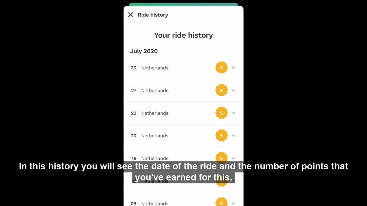 Where do I see my previous rides