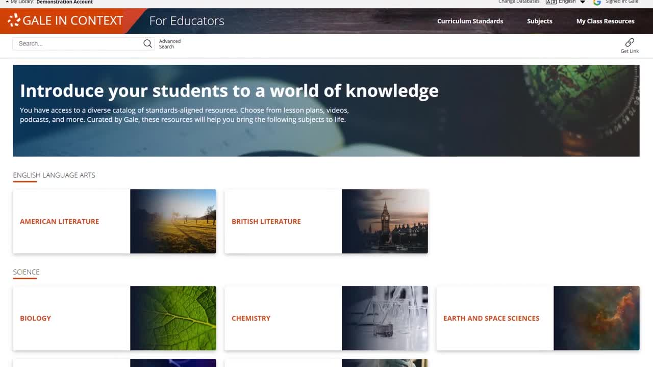 Gale In Context: For Educators - Discover, Customize, and Share Curriculum-Aligned Sources Thumbnail