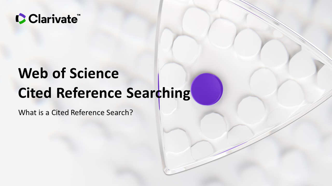 What is a Cited Reference Search video
