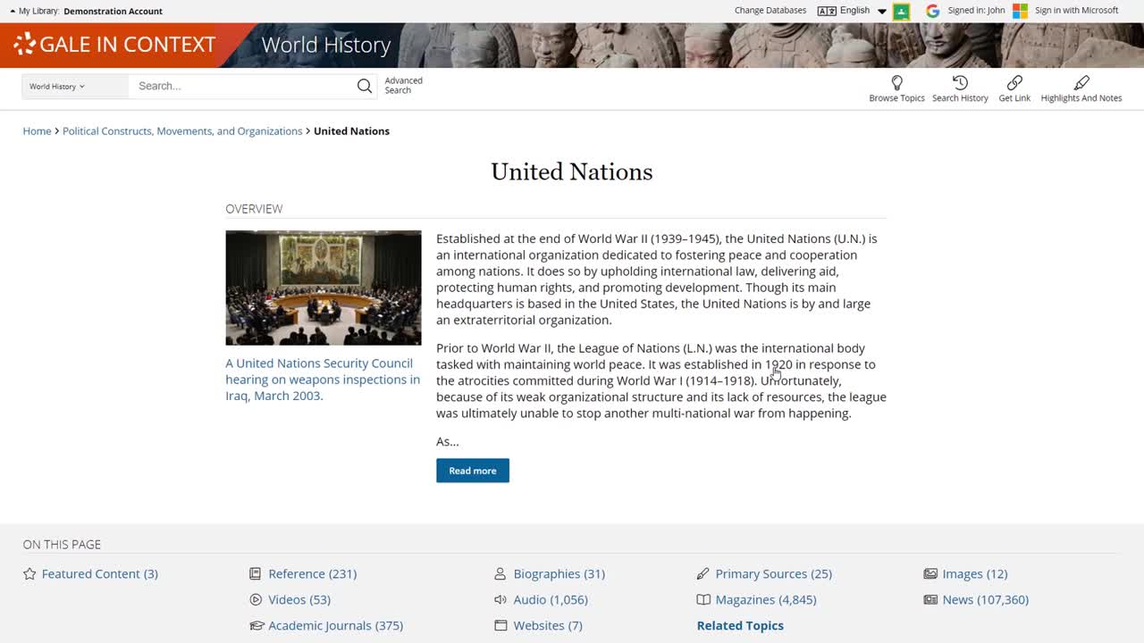 Gale In Context: World History - Topic Pages Thumbnail