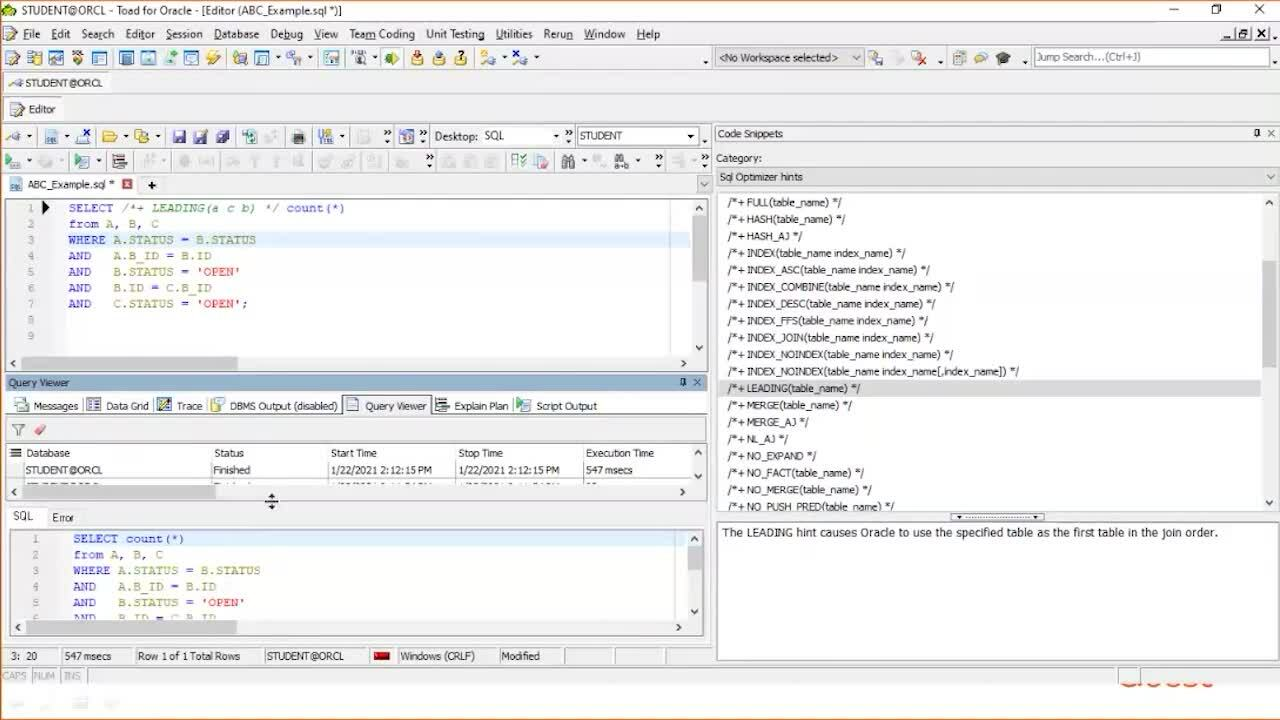 SQL Performance Tuning in Toad for Oracle v1