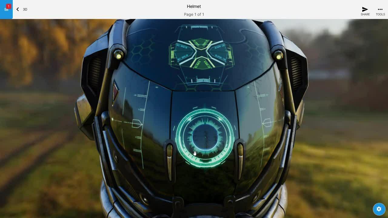 3D helmet windows