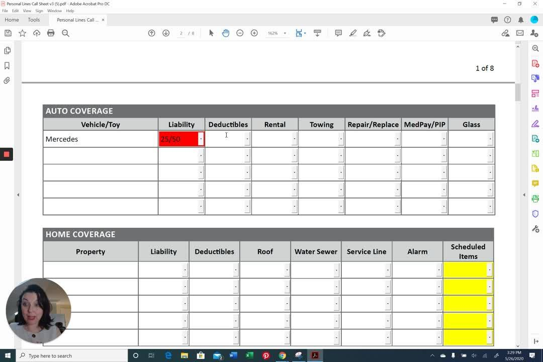 AppX Retention Call Sheet Auto Coverages