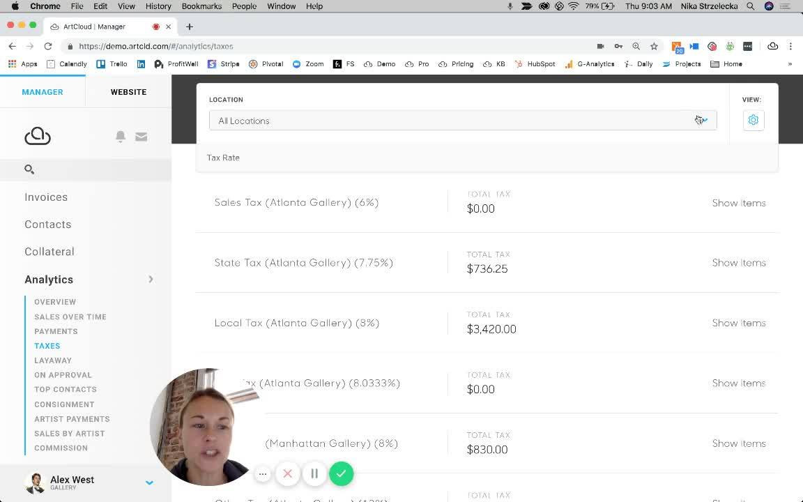 Tax Reports in ArtCloud Manager