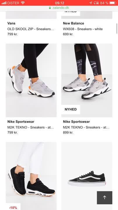 Zalando filtering shoes
