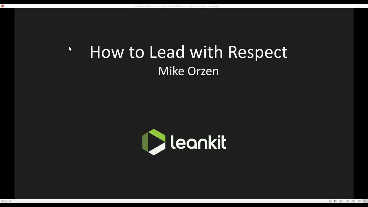 Video: Webinar: How to Lead with Respect by Mike Orze