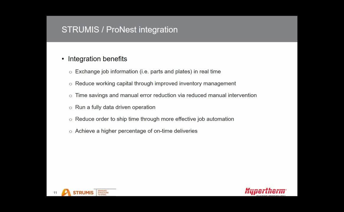 ProNest integration with STRUMIS