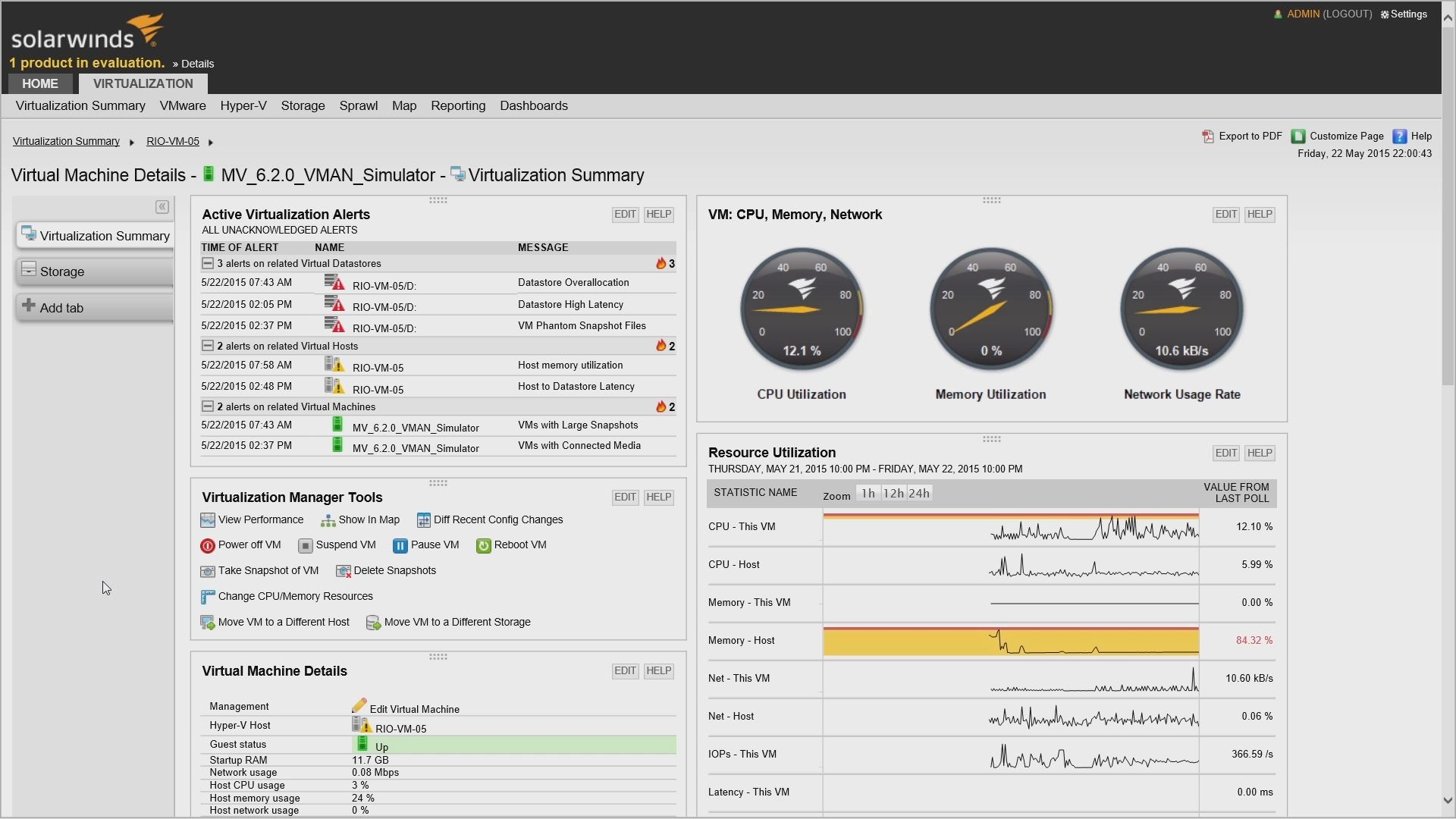 virtualization manager: management actions - video | solarwinds