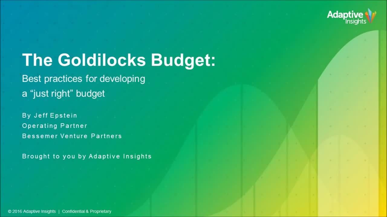 Screenshot for The Goldilocks Budget: Best Practices for Developing a Just Right Budget