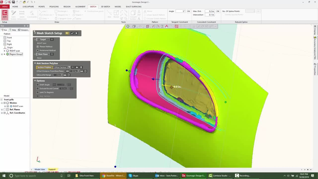Region Groups, Mesh Sketch, and Surface Modeling in Geomagic Design X