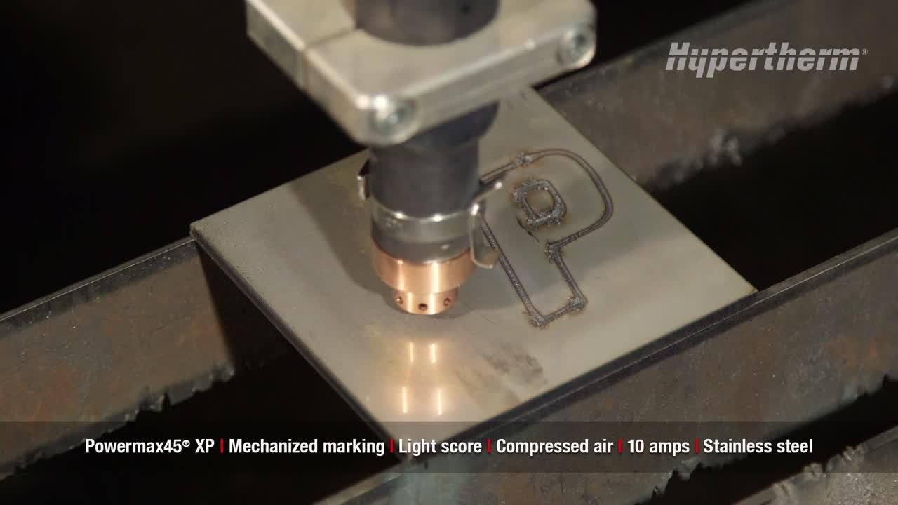 Powermax45 XP mechanized marking - light score on stainless steel