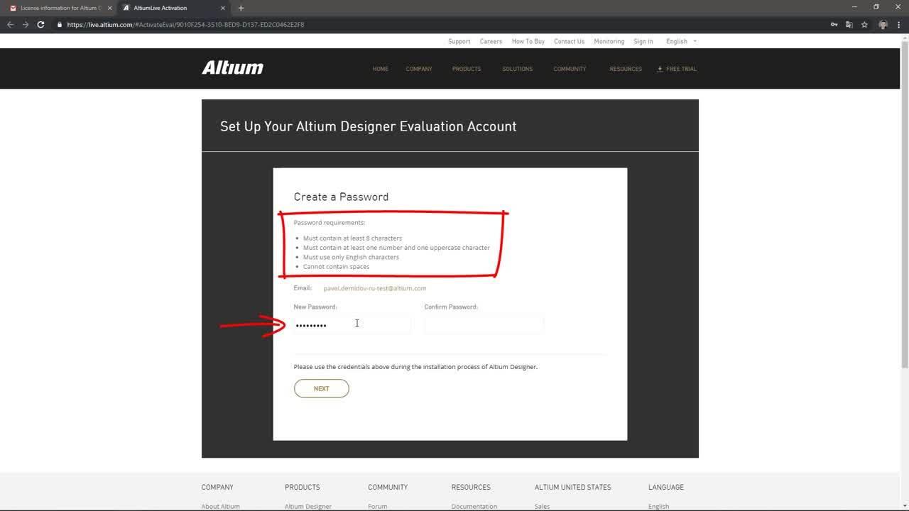 Регистрация учетной записи AltiumLive