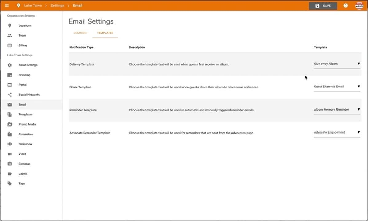 Email Setting - Assign Template