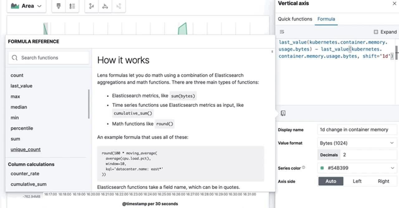 Custom formulas in Kibana Lens allow you to author metrics