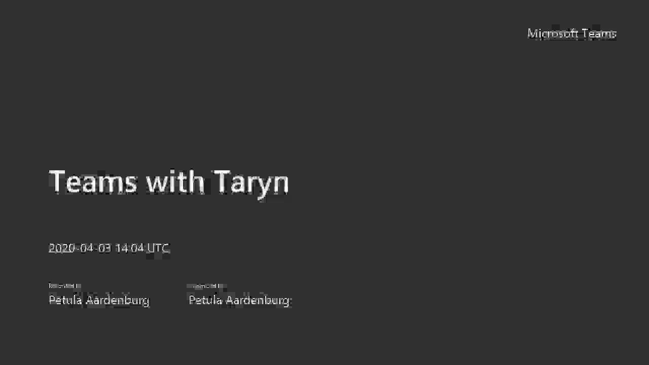 Teams with Taryn 03042020