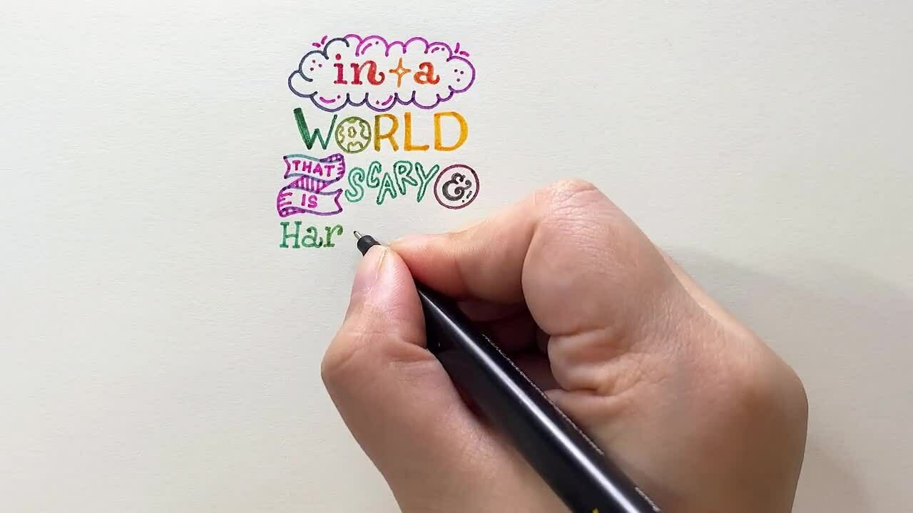 Calligraphy writing quote artist color blending pens Chameleon Fineliners