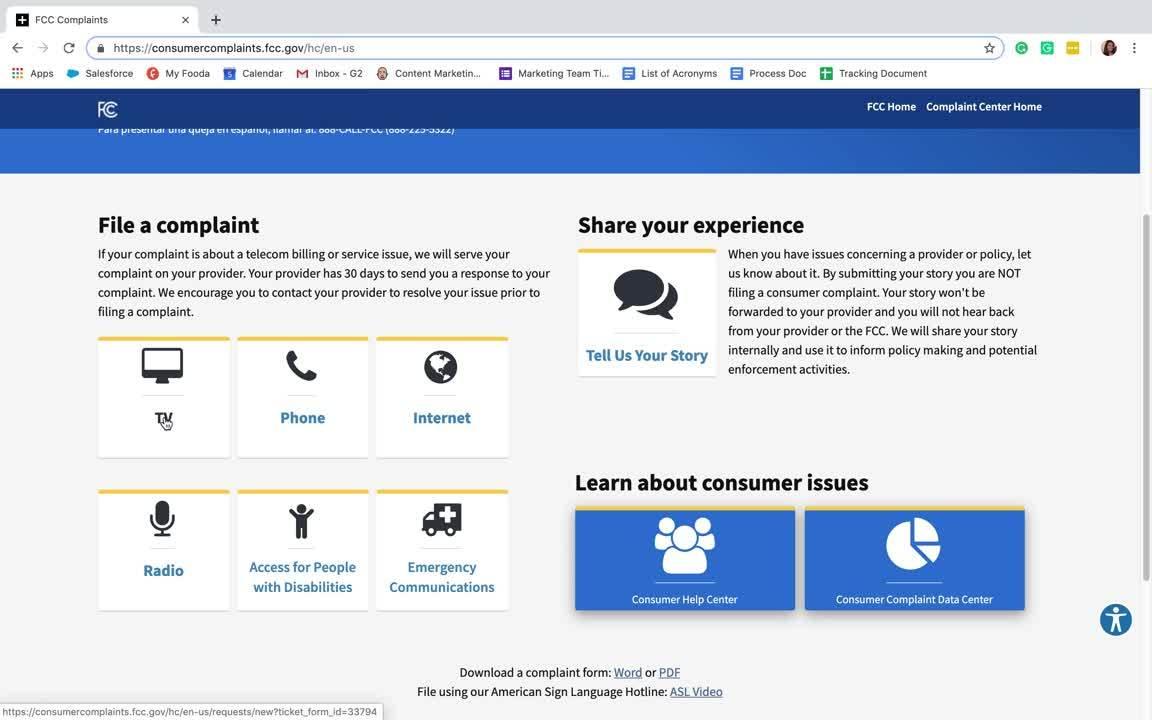 FCC consumer complaint center example-1