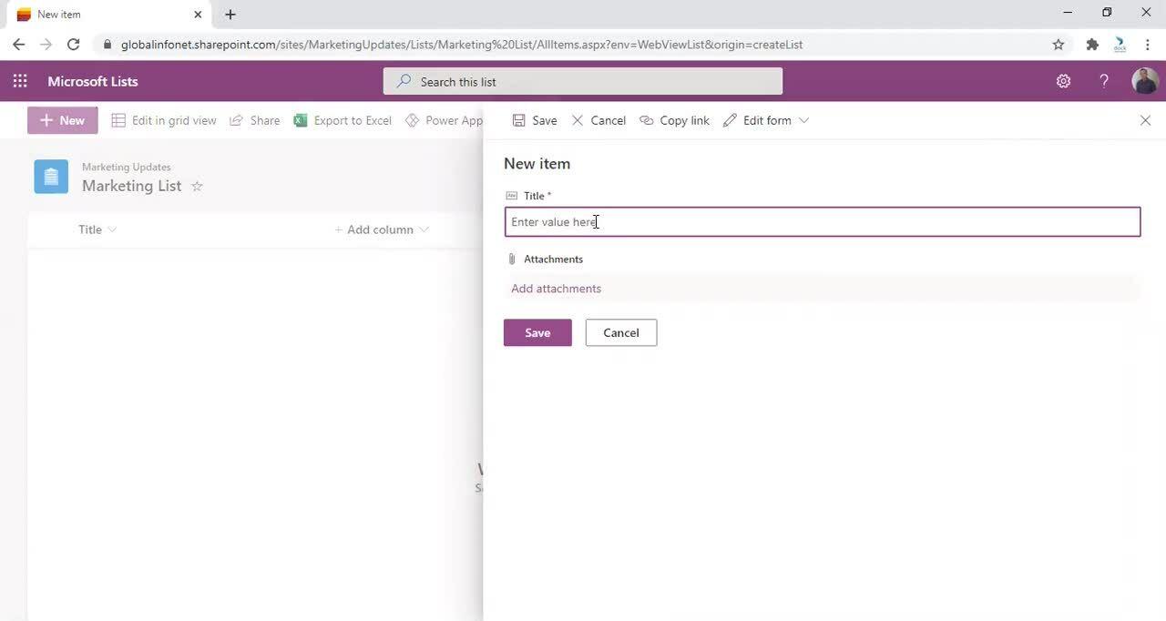 Microsoft Lists - Add new item
