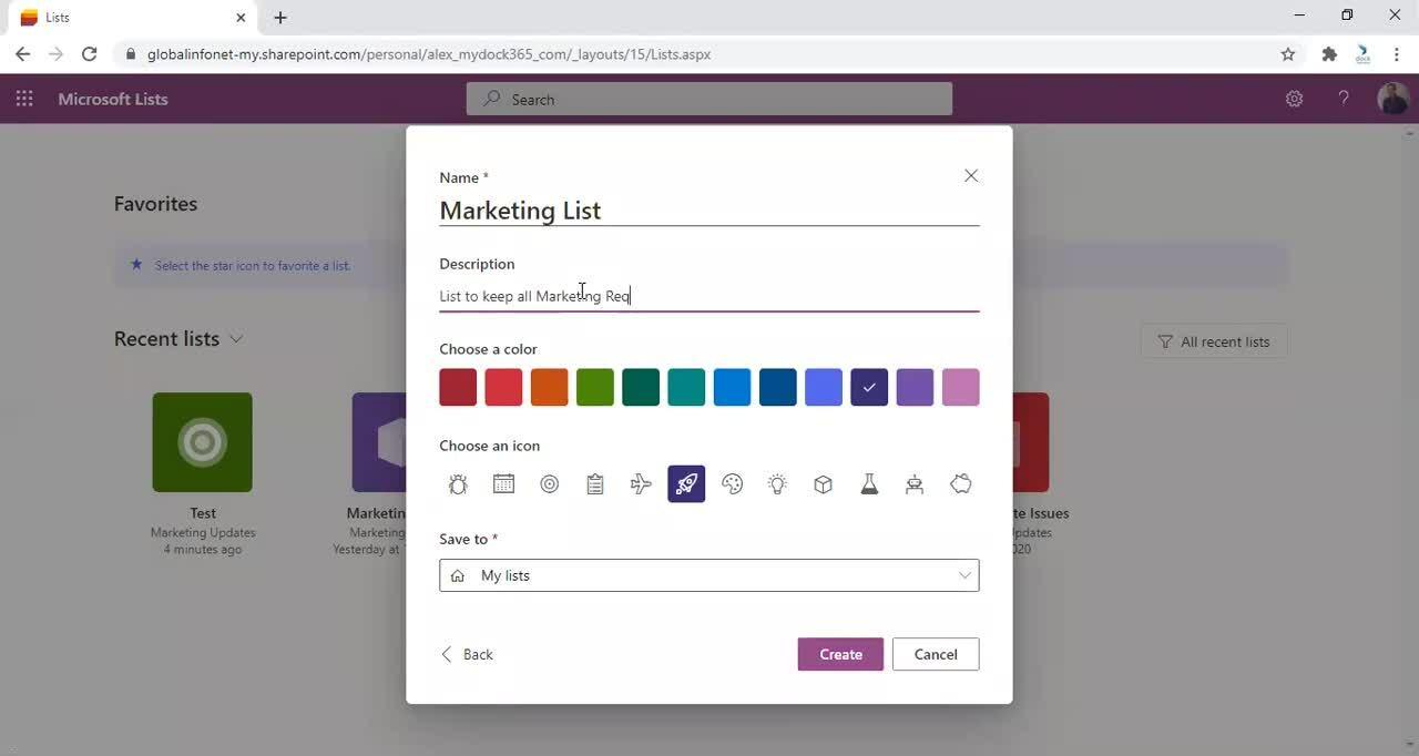 Microsoft Lists - New List Created