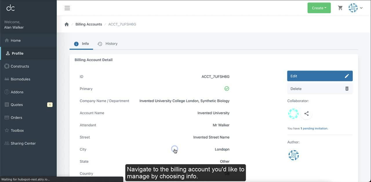 share your billing account