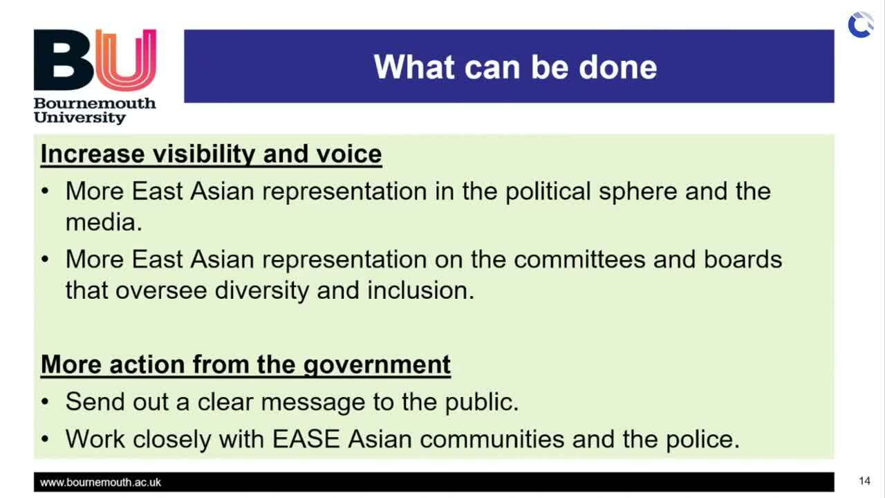 What can be done to increase inclusivity of ESEA people in UK - Dr Lim