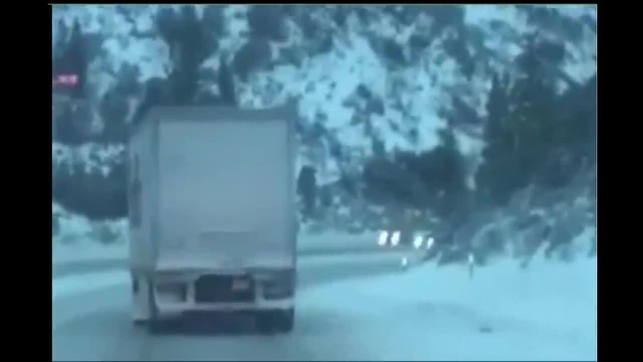 ICE ROAD TRUCKERS TAHOE_  Raw CHP video of a harrowing down Highway 80 summit by a Fedex truck-1