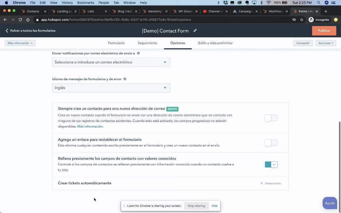 Datos conocidos en Formularios- HubSpot Community