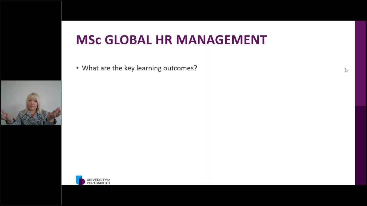 MSc Global HR Management webinar Oct 2020