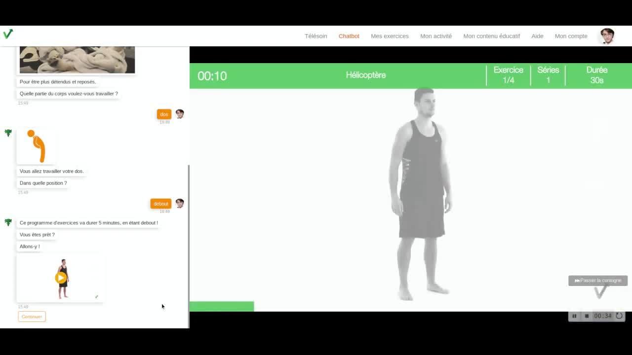Salarie - obtenir le PDF du programme realise dans le chatbot