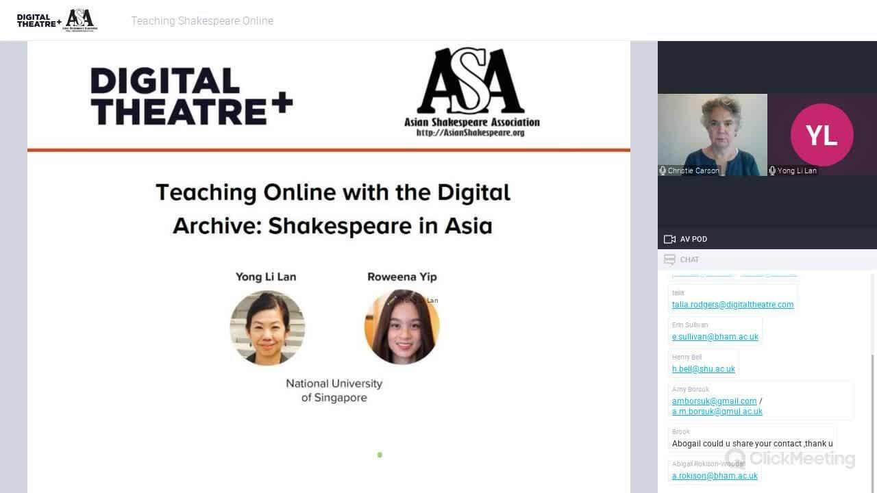 Teaching Shakespeare Online webinar