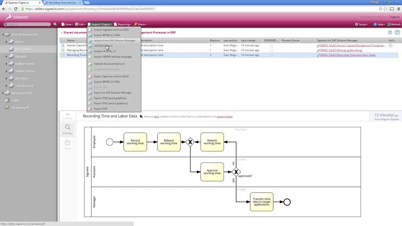 Signavio Process Manager & SAP® Solution Manager Integration (Part 2)