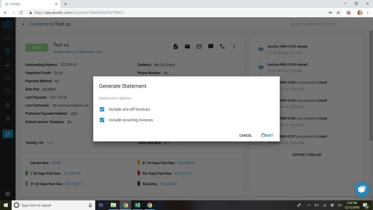 Generate a Customer Statement