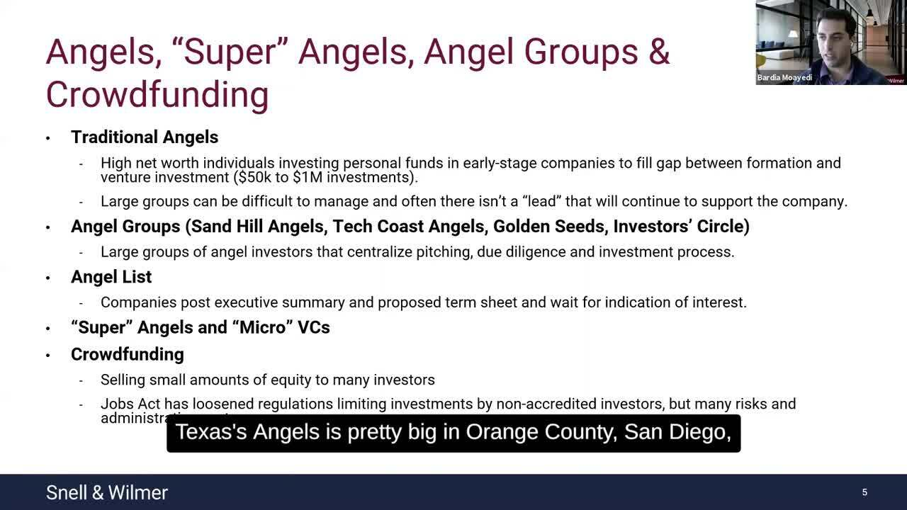 Bardia Angels, Super Angels, Angel Groups & Crowdfunding Snippet with Captions