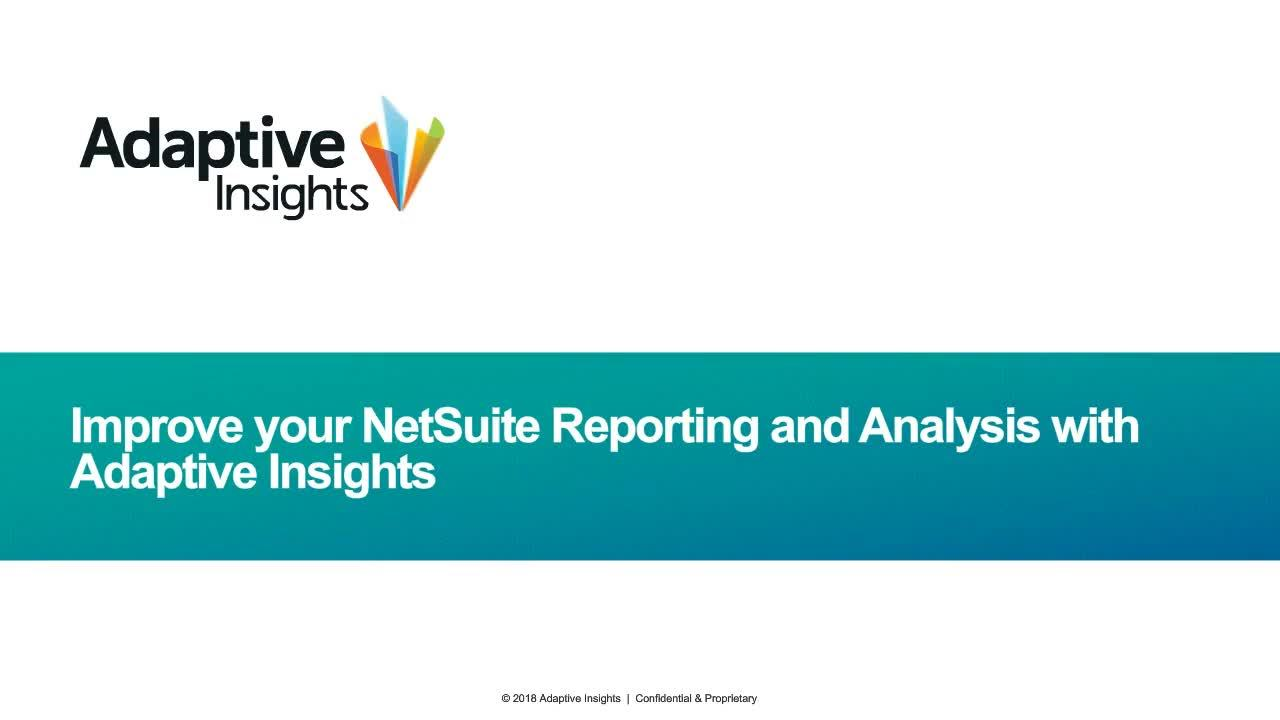 Screenshot for Improve Your NetSuite Reporting and Analysis with Adaptive Insights