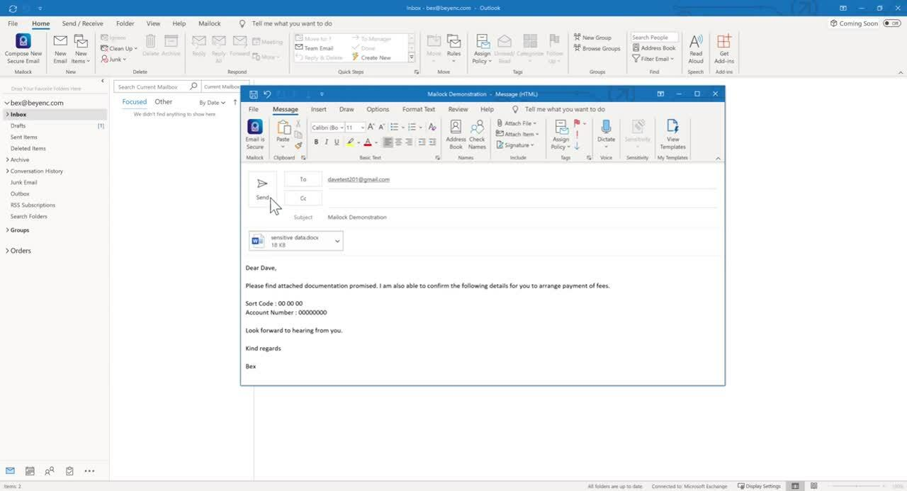 Outlook secure email send - New recipient
