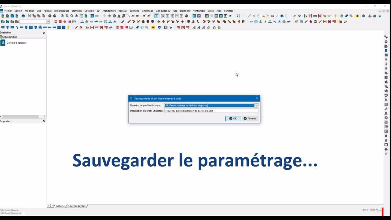 Novatip 19 - V15 - Profils personnalisés de dispositions des barres d'outils
