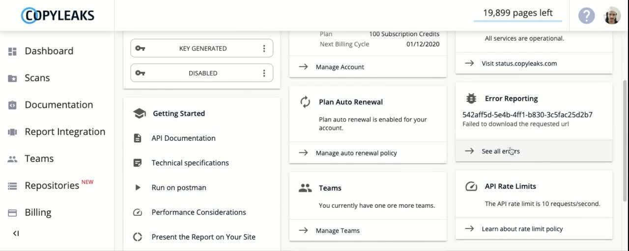 API Dashboard- Error report