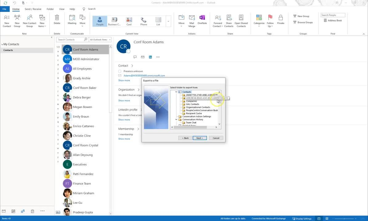 Export your Contacts in Outlook