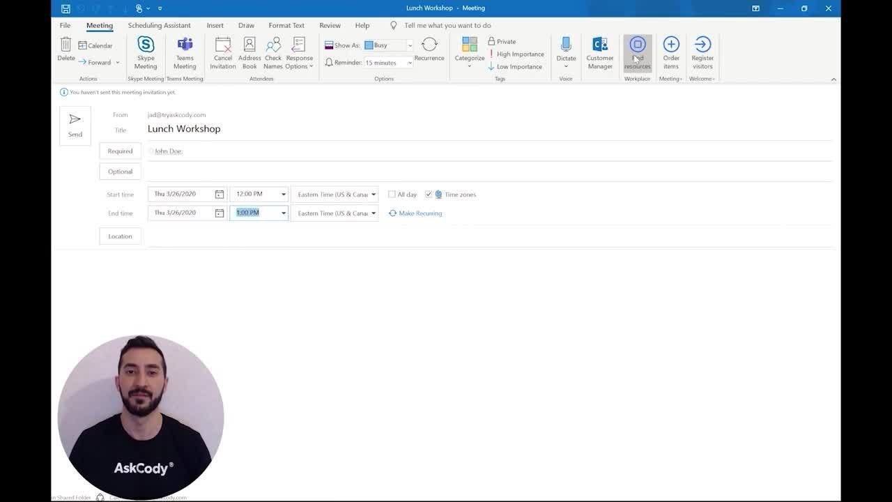 How to use the The AskCody Meeting room booking Add-in for Outlook