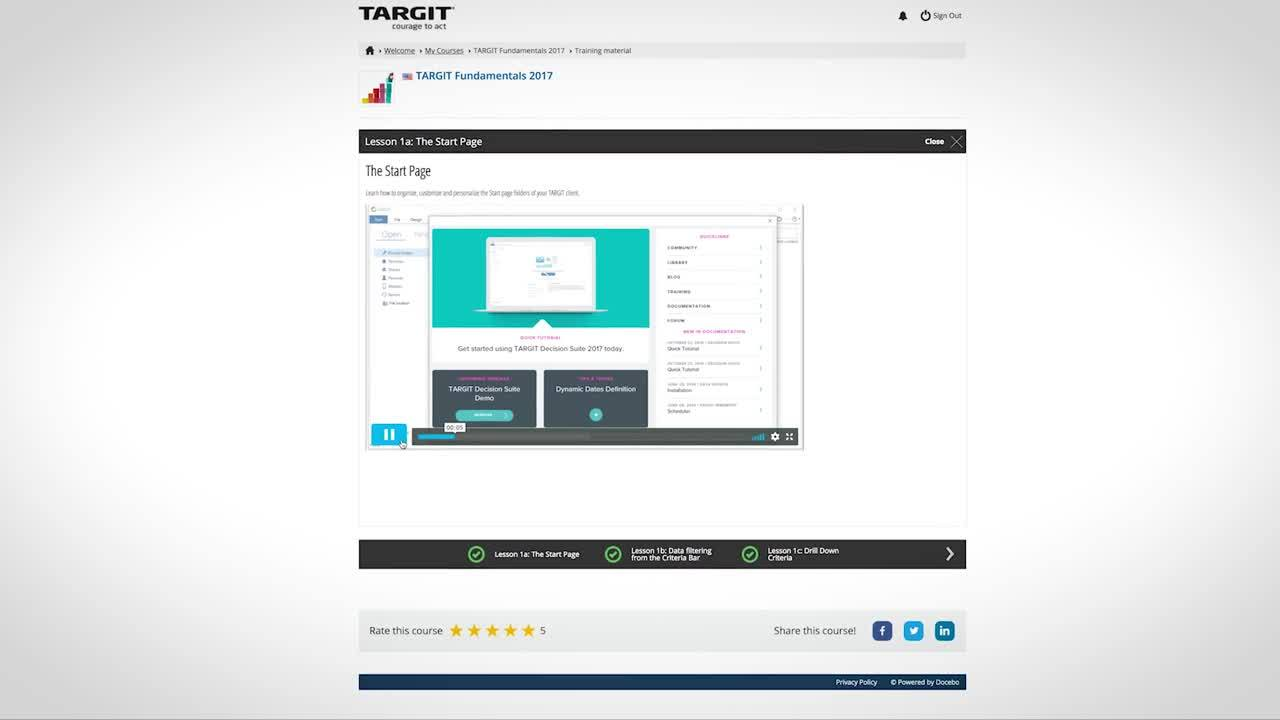 Overview of TARGIT eLearning Portal