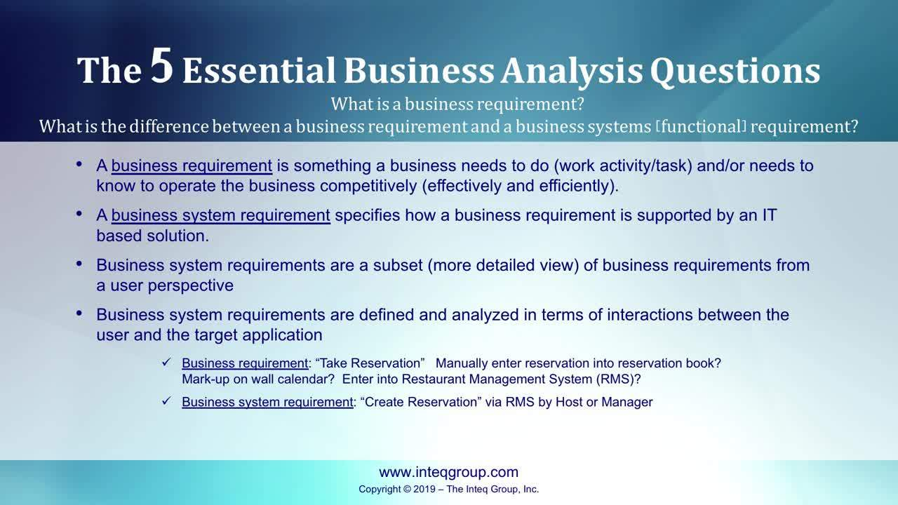 Inteq's 5 Essential Business Analysis Questions