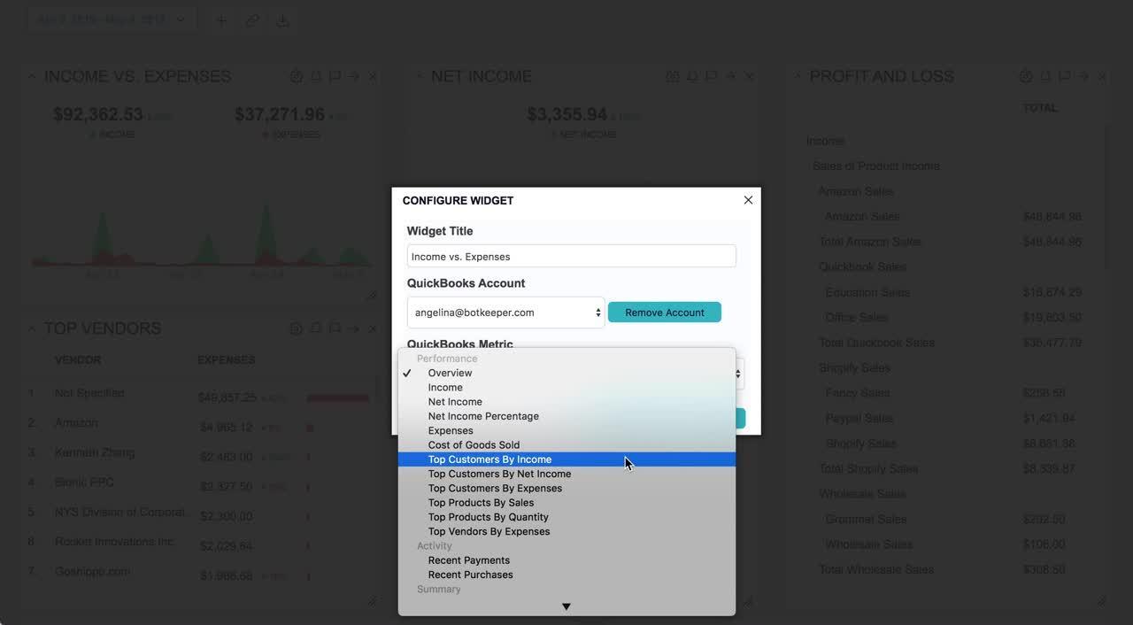 Botkeeper Dashboard 2.0 - Configure Widget
