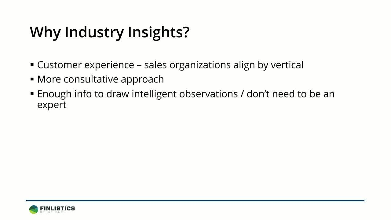 Selling more effectively using Industry Insights  build credibility success
