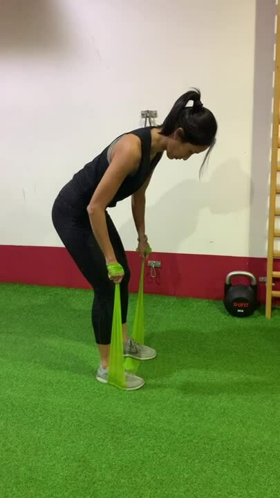 5) Banded bent over row