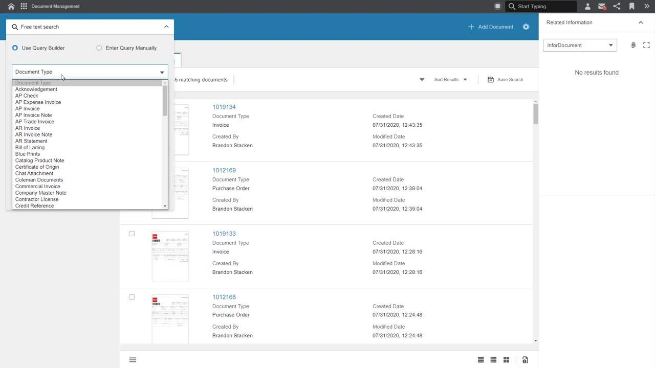 Infor Distribution SXe  - Document Management