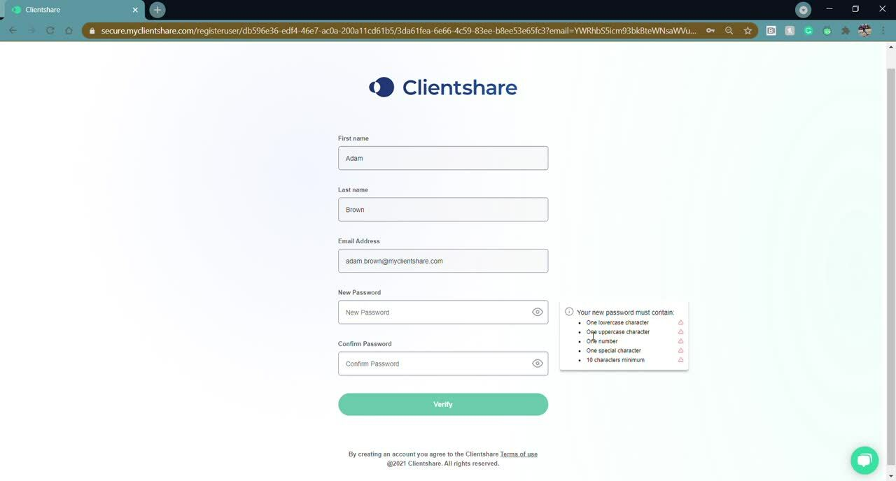 Creating an account on Clientshare